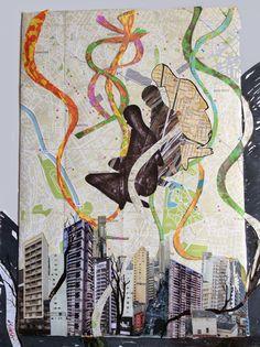 ARTES, DESARTES E DESASTRES CONTEMPORÂNEOS.   Festa em São Paulo Técnica mista (Colagem e pintura sobre papel) (Collage and painting over paper) 0,90 x 0,68