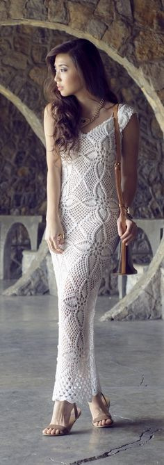 Crochet dress, great for fall, oh I have the perfect shoes for this dress....