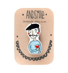 Mr. Jacques Brooch by andsmile on Etsy