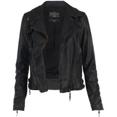 Herero Leather Biker Jacket ($495) ❤ liked on Polyvore featuring outerwear, jackets, tops, coats, biker jacket, motorcycle jacket, leather motorcycle jacket, real leather jacket and black moto jacket