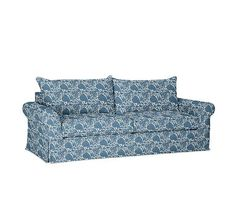 PB Comfort Roll Arm Slipcovered Twin Armchair Sleeper, Knife Edge Polyester Wrapped Cushions, Batik Print Indigo