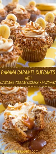 Banana Caramel Cupcakes are moist, fluffy, tender and have the most perfect banana flavour! Filled with homemade caramel sauce, rolled in toffee bits and topped with Caramel Cream Cheese Frosting — these cupcakes will have your taste buds going crazy! Food Cakes, Cupcake Cakes, Cup Cakes, Cake Cookies, Nurse Cupcakes, Cupcake Emoji, Just Desserts, Dessert Recipes, Health Desserts