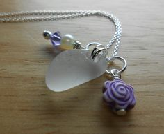 Beach Glass Jewelry  Sea Glass Cluster Necklace  by SeaFindDesigns, $26.00