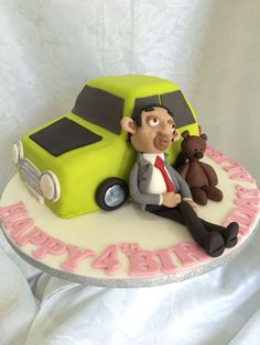 Bean, Teddy and Mini Mr Bean Cake, Bean Cakes, Tom And Jerry Cake, Mr. Bean, Cupcake Cakes, Cupcakes, Fondant Tutorial, Cakes And More, Floral Motif