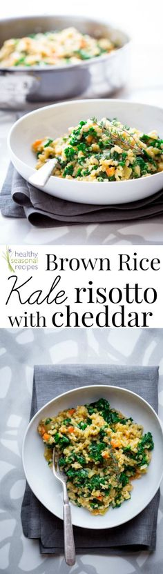 Healthy Dinner Ideas Easy To Make : brown rice kale risotto with cheddar - Healthy Seasonal Recipes Kale Recipes, Side Dish Recipes, Whole Food Recipes, Vegetarian Recipes, Dinner Recipes, Cooking Recipes, Healthy Recipes, Risotto Recipes, Healthy Foods