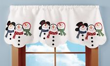 Cute Country Snowman White Window Curtain Valance Christmas Winter Holiday Decor