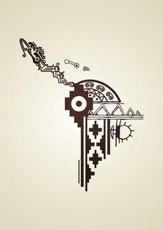 Mayan Tattoos, Mexican Art Tattoos, Inka Tattoo, Peru Tattoo, Latina Tattoo, Arte Latina, Aztec Symbols, Colombian Art, Aztec Art