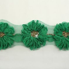 Green Floral Corsage Chiffon Lace for Women baby girls by annielov, $11.00