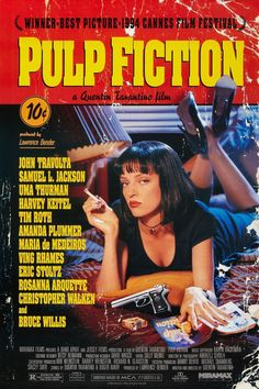 Pulp Fiction 1994 Movie Poster Used Collectors Edition Rare Quentin Tarantino Film, Uma Thurman, Bruce Willis, Eric Stoltz, Christopher Walken What would Be You Best Movie Of All Time? Best Movie Posters, Classic Movie Posters, Classic Films, Modern Classic, See Movie, Movie Tv, Crazy Movie, Movie Club, Uma Thurman Movies