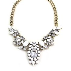 A stunning floral bib necklace with a fresh, eye-catching palette. The ultra-white cabochon and faceted gems contrast beautifully with the clear, crystal sparkle. Perfect for a romantic brunch date an Fashion Jewelry Necklaces, Fashion Rings, Jewellery, Women's Fashion, Bridal Accessories, Wedding Jewelry, Acrylic Gems, Discount Jewelry, Floral Necklace