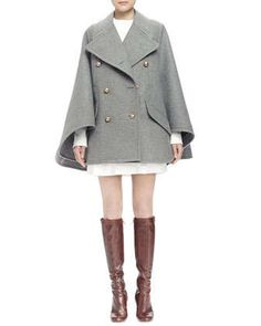 Double-Breasted Cape Coat & Long-Sleeve Asymmetric Dress by Chloe at Neiman Marcus.