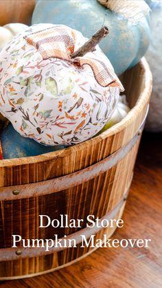 Foam Pumpkins, Wooden Pumpkins, Painted Pumpkins, Diy Pumpkin, Pumpkin Crafts, Fall Crafts For Kids, Thanksgiving Crafts, Dollar Store Crafts, Dollar Stores