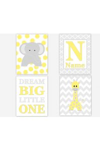 Personalized - Baby Nursery Canvas Wall Art - Yellow Gray Elephant Giraffe Dream Big Little One - Set of 4 Canvas