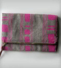 Stripes & Squares Foldover Clutch - Pink