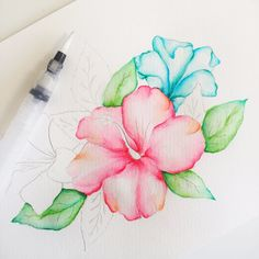 Learn how to watercolor this beautiful tropical hibiscus using Watercolor Brush Markers