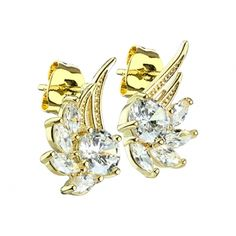 Spikes Pair coloured ear studs with angel wing and crystal - Rose Gold Piercing, Labret Studs, Silver Nose Ring, Ear Studs, Messing, Diamond Shapes, Round Beads, Really Cool Stuff, Spikes