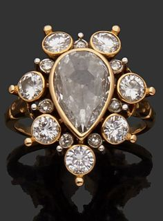 RENÉ BOIVIN - A Retro 18k gold and diamond ring, about 1950.