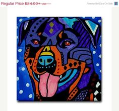 YIPEE 50% off- Rottweiler art Tile Ceramic Coaster Mexican Folk Art Print of painting by Heather Galler dog
