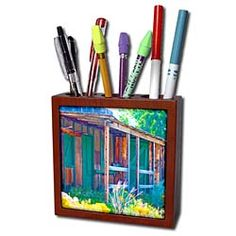 An old rustic building of green wood Tile Pen Holder Buy Tile, Desk Clock, Light Switch Covers, Pen Holders, Rustic, Building, Wood, Green, Clock Table