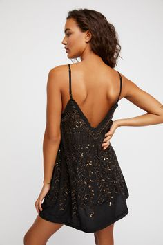Intimately Black Combo Arizona Nights Embellished Slip at Free People Clothing Boutique Hoco Dresses, Dance Dresses, Homecoming Dresses, Dress Outfits, Formal Dresses, Party Dresses, 1950s Dresses, Prom Gowns, Club Outfits