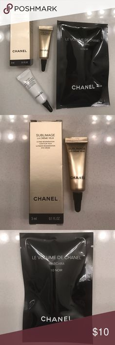 Chanel Set #4 Chanel set comes with THREE items:   1. Le volume de chanel mascara 10-noir 0.03 fl oz 2. Sublimage ultimate regeneration eye cream 0.1 fl oz 3.le Lift firming anti wrinkle eye cream 0.1 fl oz. All items are sample sizes. Perfect for travel or for testing these products before purchasing full size. Brand new, never opened. CHANEL Makeup