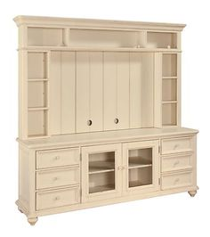 Hadley Pointe Antique White TV Stand Entertainment Center Shabby Console Chic | eBay