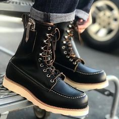 Denim Boots, Leather Boots, Red Wing Boots, Mens Boots Fashion, Versace Men, Cool Boots, Sneaker Boots, Vintage Shoes, Loafers Men
