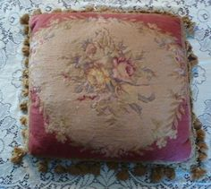 STUNNING-Antique-French-Needlepoint-Pillow