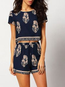Navy Short Sleeve Leaves Print Crop Top With Shorts Suits  SheIn