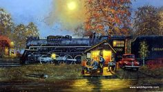This nostalgic railroad print by Dave Barnhouse has two retired employees PASSING TIME by playing checkers. They're probably swapping stories about their days working on a steam engine. Comes in an un