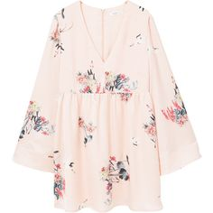 Flower Print Dress (€57) ❤ liked on Polyvore featuring dresses, vestidos, tops, pink v neck dress, long dresses, pink dress, v-neck dresses and long bell sleeve dress