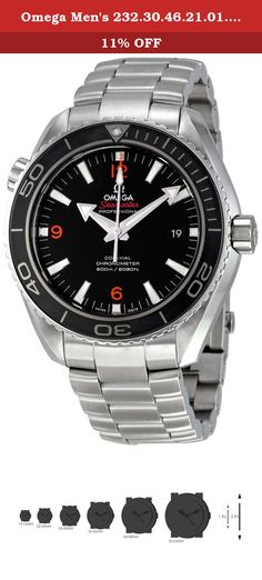 Omega Men's 232.30.46.21.01.003 Planet Ocean Big Size Black Dial Watch. Omega Seamaster Planet Ocean 45.5mm Case Size Watch. Features Omega's new in-house movement, 8500, which incorporates the co-axial escapement and SI 14 balance spring.