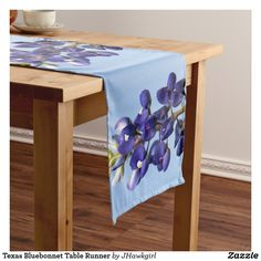 SOLD! on Zazzle.  Texas Bluebonnet Table Runner by Amy Steeples.