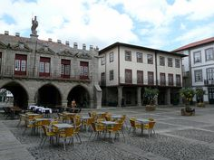 Guimarães Portugal Modern life in a medieval Plaza