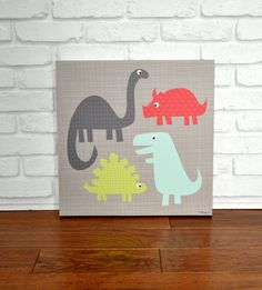 Hey, I found this really awesome Etsy listing at https://www.etsy.com/listing/152734310/a-gathering-of-dinosaurs-canvas-wall-art