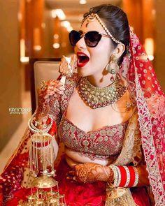 Punjabi Wedding Couple, Big Fat Indian Wedding, Indian Bridal, Red Wedding Dresses, Bridal Dresses, Bridal Looks, Bridal Make Up, Indian Photography, Wedding Photography