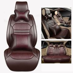 auto car seat covers coffee/beige/orange/black free shipping luxury leather