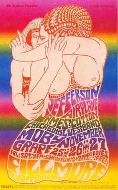 Vintage, Retro, Hippie poster - beautiful art design, Jefferson Airplane classic rock concert.