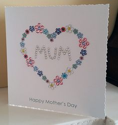 Handmade Mother's Day Cards Tutorial using Swarovski Flatback Crystals The Effective Pictures We Offer You About DIY Mothers Day brunch A quality picture can tell you many things. You can find the mos Diy Cards For Mother's Day, Mothers Day Cards Homemade, Homemade Birthday Cards, Mom Cards, Mother's Day Diy, Mothers Day Crafts, Happy Mothers Day, Homemade Cards, Cards Diy
