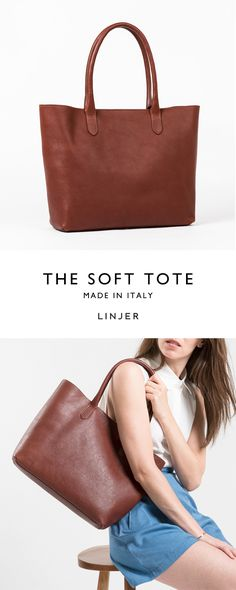 Chestnut brown leather tote
