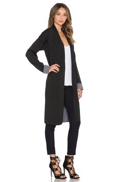 f724076dbb Theory Armelle Cardigan in Dark Charcoal   Light Charcoal Revolve Clothing