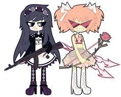Madoka Kaname and Homura Akemi by *nekozneko on deviantART http://nekozneko.deviantart.com/art/Soft-Grunge-Tavros-Nitram-373565634