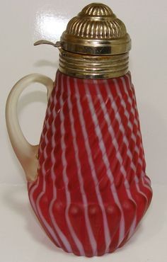 1890'S BUCKEYE OPALESCENT CRANBERRY SWIRL WHITE LINES GLASS SYRUP PITCHER