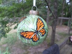 Hand Painted Christmas Glass Ornament Monarch  by ADragonflysFancy, $12.00
