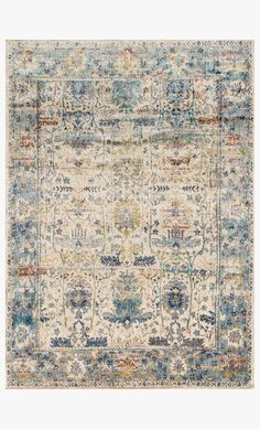 Anastasia Rug in Sand & Light Blue design by Loloi Blue Couches, Yellow Couch, Old Orchard, Modern Shop, Burke Decor, Blue Design, Power Loom, Rug Making, Anastasia