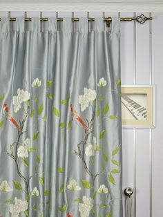 120 Inch Extra Wide Morgan Gray Embroidered Bird Branch Faux Silk Curtains | Cheery Curtains | Cheery Curtains: Ready Made and Custom Made Curtains For Less
