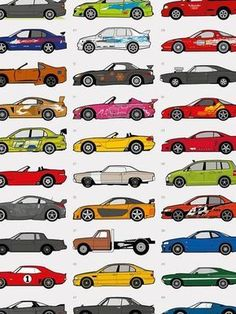 Cars of Fast and Furious Poster Fast And Furious, Wallpaper Carros, Affordable Sports Cars, Super Fast Cars, Disney Cars Birthday, Car Posters, Cute Cars, Japanese Cars, Bmw Cars