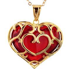 Legend of Zelda Skyward Sword Heart Necklace/Pendant Heart Shaped Necklace, Ruby Necklace, Ruby Jewelry, Heart Jewelry, Heart Necklaces, Jewelry Necklaces, Jewlery, Geek Jewelry, Diamond Necklaces
