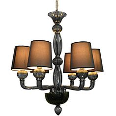Smoke Glass 6-liight Chandelier with Shades  @Overstock - Update your home decor with this beautiful black glass chandelier. This light fixture features black hard back shades and a black glass finish.http://www.overstock.com/Home-Garden/Smoke-Glass-6-liight-Chandelier-with-Shades/6619829/product.html?CID=214117 $279.99
