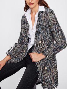 Frayed Edge Tweed Longline Blazer